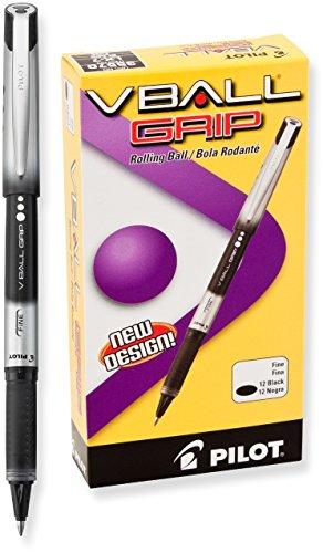 Pilot VBall Grip Liquid Ink Rolling Ball Pens, Fine Point, Black Ink, Dozen Box (35570)