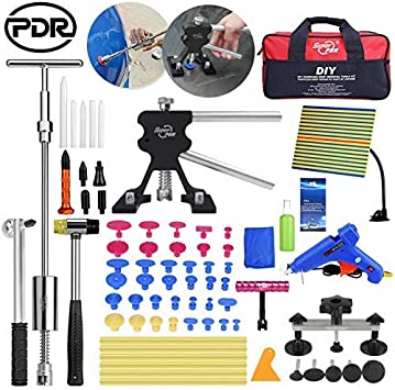 Amazon Com Super Pdr Paintless Dent Repair Removal Dent Puller Lifter Slide Hammer Kit Reflector Lamp Board Dent Puller Suction Cup T Bar Hammer Removal Glue Kit Automotive