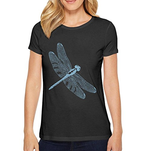 Trum Namii Women's Short-Sleeve t-Shirt Light Blue Dragonfly O-Neck Tee