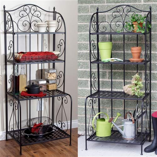 CHOOSEandBUY Indoor/Outdoor Folding Metal Bakers Rack Plant Stand with 4 Shelves Rack Bakers Storage Kitchen Shelf Stand