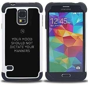 "SAMSUNG Galaxy S5 V / i9600 / SM-G900 - 3 en 1 impreso colorido de Altas Prestaciones PC Funda chaqueta Negro cubierta gel silicona suave (Mantenga Modales Mood Mantenga calma texto"")"