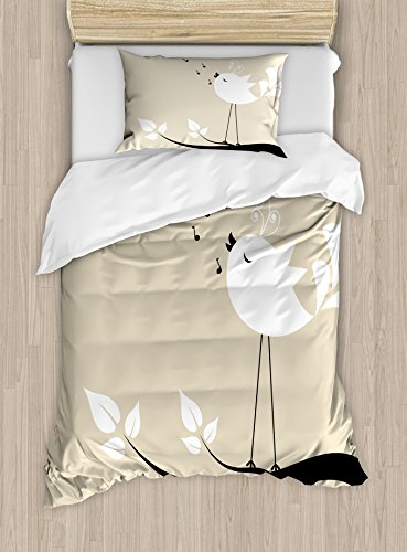 Ambesonne Birds Duvet Cover Set Twin Size, Two Birds on a Branch Singing Love Songs Friend Valentine Couple Hope Living, Decorative 2 Piece Bedding Set with 1 Pillow Sham, Cream Black White