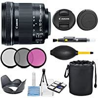 Canon EF-S 10-18mm f/4.5-5.6 IS STM Lens with 3pc Filter Kit (UV, CPL, FLD) + Deluxe Lens Pouch + Lens Hood + Deluxe Cleaning Kit - International Version