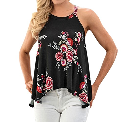 Ezcosplay Women's Sleeveless Round Neck Floral Print Asymmetric