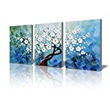 painting a bedroom Wall Decorations for Bedroom 3D Handmade Oil Painting on Canvas White Plum Blooming Floral 3 Piece Framed Bedroom Wall Art Set for Home Decoration Artwork for Walls Office Wall Decor 16x36inches