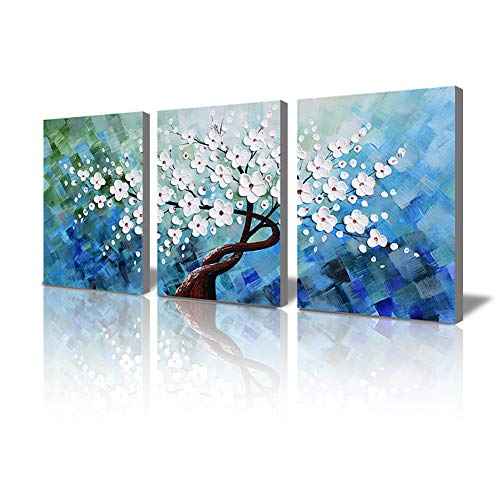 Wall Decorations for Bedroom 3D Handmade Oil Painting on Canvas White Plum Blooming Floral 3 Piece Framed Bedroom Wall Art Set for Home Decoration Artwork for Walls Office Wall Decor 16x36inches