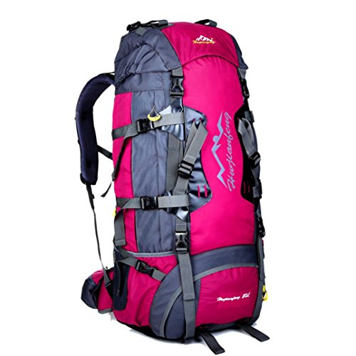 Iuhan® Fashion 80L Waterproof Sports Tactical Camping Hiking Backpack Luggage Rucksack Bag New (Hot Pink)