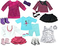 The doll lover in your life will love this full wardrobe set that includes 5 complete outfits with shoes! She will love picking out outfits and dressing her doll for school, chilly weather, the ice skating rink, a friends house or bed. Each o...