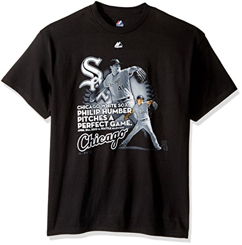 Perfect Games Mlb History - MLB Mens Chicago White Sox Philip Humber Perfect Game Black Short Sleeve Basic Tee By Majestic (Black, X-Large)