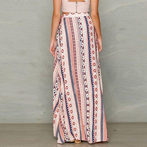 FOLLOWUS Frauen hochtailliert verkleiden Kleid Boho Chiffon Maxi Rock  eingewickelt Strand Kleid