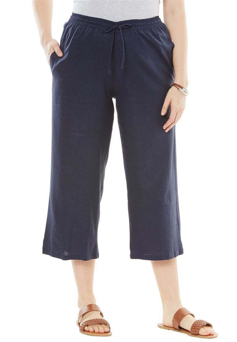 Woman Within Women's Plus Size Drawstring Linen Culottes