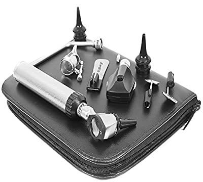 Awans Bright White LED Stainless Steel Otoscope Set Includes Disposable Specula Different Sizes of Reusable Specula