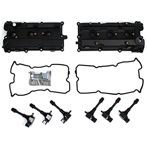 CNVG-D1273 Brand New Valve Cover, Valve Cover Gasket, Ignition Coil Set (RH & LH) (2003 Nissan Maxima Valve Cover Gasket Replacement)