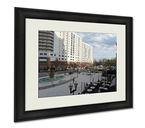 Ashley Framed Prints Town Center And Central Park Avenue Of Virginia Beach, Wall Art Home Decoration, Color, 30x35 (frame size), - Plaza Stores Town Center