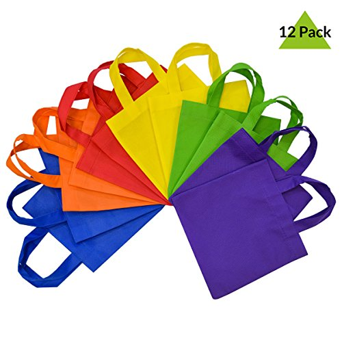 (12 Pack Reusable Gift Bags with Handles, Eco Friendly Tote Bags, Party Favor Bags Assorted Bright Neon Colors, Multi Colors (8
