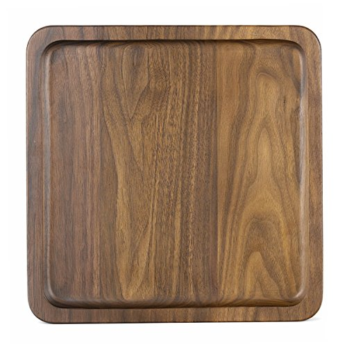 Rustic Walnut Wooden Tray Solid Wood Serving Tray Square Rectangle Platter Tea Tray Coffee Table Tray (Large square With Grooves(11x11x1inch))