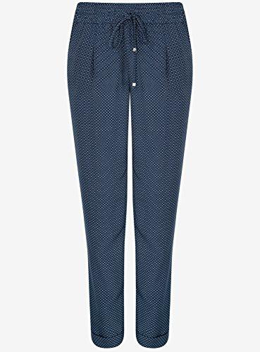 oodji Collection Mujer Pantalones Ligeros de Tejido Fluido Azul (7512G)