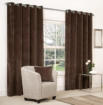 Captivating Mesola Velvet Metal Eyelet Ring Top Curtains. 90u0026quot; X 72u0026quot; Chocolate  Brown