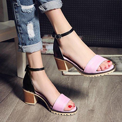 Charm Sandalo Da Donna Estate Con Tacco Medio Alla Caviglia, Sandalo Open Toe Rosa