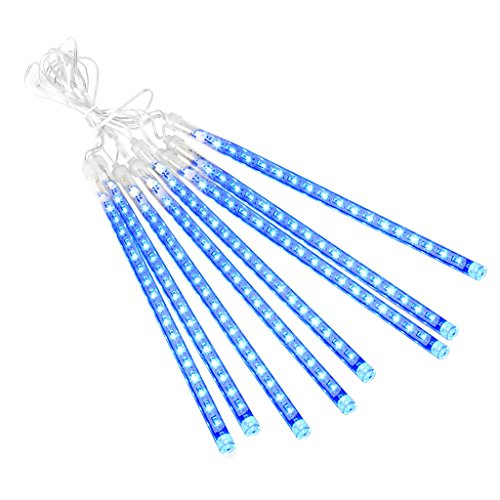 Blue Commercial Led (Finether 13.1 ft 8 Tube 144 LED Meteor Shower Rain String Lights for Holiday Christmas Halloween Party Indoor Outdoor Decoration Commercial Use)