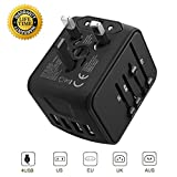 Travel Adapter, Worldwide All in 1 Universal Adapter Wall AC Power Plug 2.4A 4 Ports USB Charger Wall Charger for US UK EU Australia Germany Spain France Japan European Plug Adapter Built-in Dual Fuse