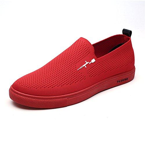 Scurtain Mens Respirant Slip-on Tricoté Chaussures De Marche Casual Mocassin Flats Mocassins Conduite Chaussures Rouge