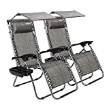 Bonnlo Zero Gravity Chair Set of 2 with Canopy Patio Sunshade Lounge Chair, Adjustable Folding Shade Reclining Chairs with Cup Holder and Headrest for Beach Garden