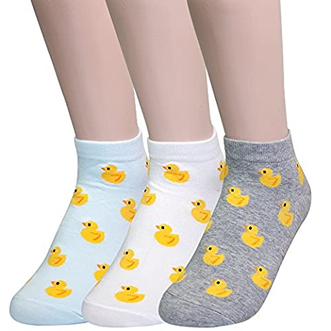 Women's 3 Pairs Cotton Low Cut Novelty Quarter Ankle Socks, Cute Duck Printed No Show By KONY (Cute Ducks - 3 (Yellow Duck Socks)