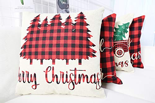 Christmas Farmhouse Home Decor Lanpn Christmas 18×18 Throw Pillow Covers, Decorative Outdoor Farmhouse Buffalo Plaid Plad Merry Christmas Xmas Pillow… farmhouse christmas pillow covers