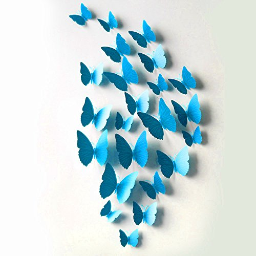 FLY SPRAY 3D Blue Butterfly Removable Mural Wall Stickers Wall Decal For Home - At Outlets Castle Rock Shops