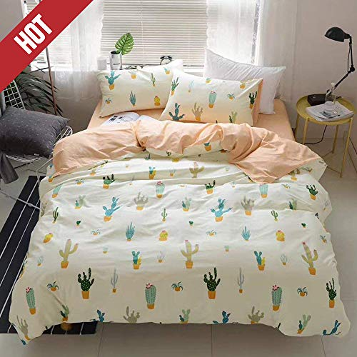 【Newest Collection】Cactus Cartoon Kids Duvet Cover Queen Peach Girls Quilt Cover Full Cacti Children 3 Pieces Pale Yellow Plant Cute Bedding Cover Bedding Collections Set for Adult Teens,NO Comforter (Cute Cheap Bedspreads)