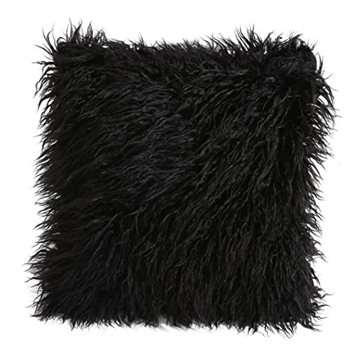 Pillow Covers Decorative 18x18, Wakeu Super Soft Plush Faux Fur Throw Cushion Case Cover (Black) (And Gold Silver Bedding White)