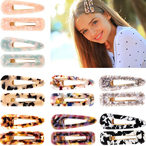 16 Pieces Acrylic Resin Hair Clips Geometric Alligator Hair Barrettes for Women and Girls Fashion Hair Accessories (Color A)