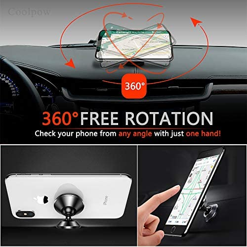 [ 2 Pack ] Magnetic Phone Mount, [ Super Strong Magnet ] [ with 4 Metal Plate ] car Magnetic Phone Holder, [ 360° Rotation ] Universal Dashboard car Mount Fits iPhone Samsung etc Most Smartphones 51qWkyeKDGL