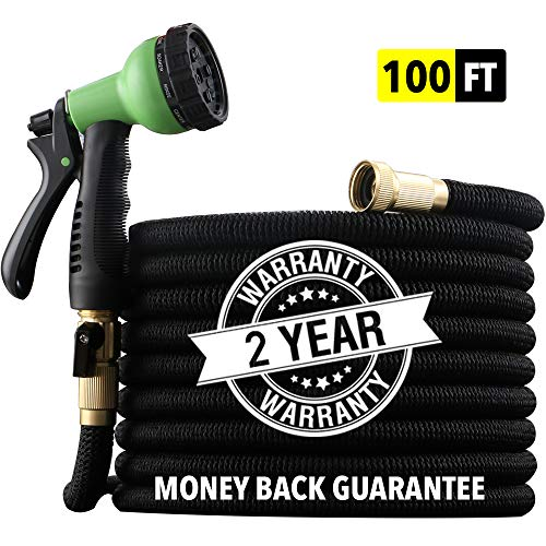 "[2019 HOSE MODEL] X-STREAM 100 ft Non-Kink Expandable Garden Hose, 10-PATTERN Spray Nozzle INCLUDED, 3/4"" Brass Fittings with Shutoff Valve, BEST 100′ Foot Garden Hose – 2 YEAR WARRANTY – Black"