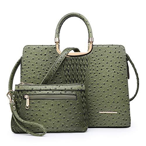 Women's Fashion Handbag Ladies Tote Shoulder Bags Satchel Purse Top Handle Work Bag with Matching Wallet (5-ostrich green wallet set)