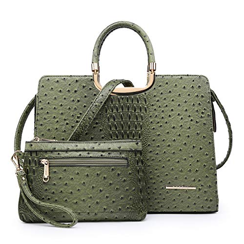 Women's Fashion Handbag Ladies Tote Shoulder Bags Satchel Purse Top Handle Work Bag with Matching Wallet (5-ostrich green wallet set)