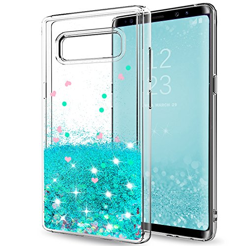 LeYi ZY101417 Clear Glitter Bling Liquid Case for Girls Women, Cute Design Shiny Moving Quicks and TPU Protective Phone Case Cover for Samsung Galaxy Note 8 - ZX Turquoise