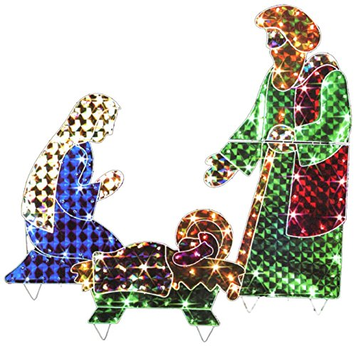 LB International 3169 3-Piece Holographic Lighted Christmas Nativity Set Yard Art Decoration 42