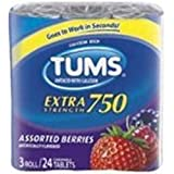 Tums Antacid, with Calcium, Extra Strength 750, Assorted Berries, Chewable Tablets, 3 pk (Pack of 12)
