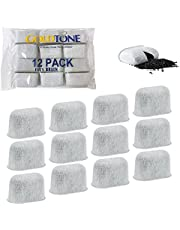GOLDTONE Charcoal Water Filters Fit All CUISINART and Braun Coffee Machines - DCC-RWF and BRSC004 Replacement Filters, (12 Pack)