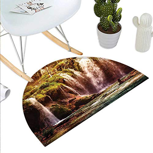 Nature Semicircle Doormat Waterfall Cascade Forest Tree Moss Lake Stones Rocks Wonder of The World Image Halfmoon doormats H 47.2