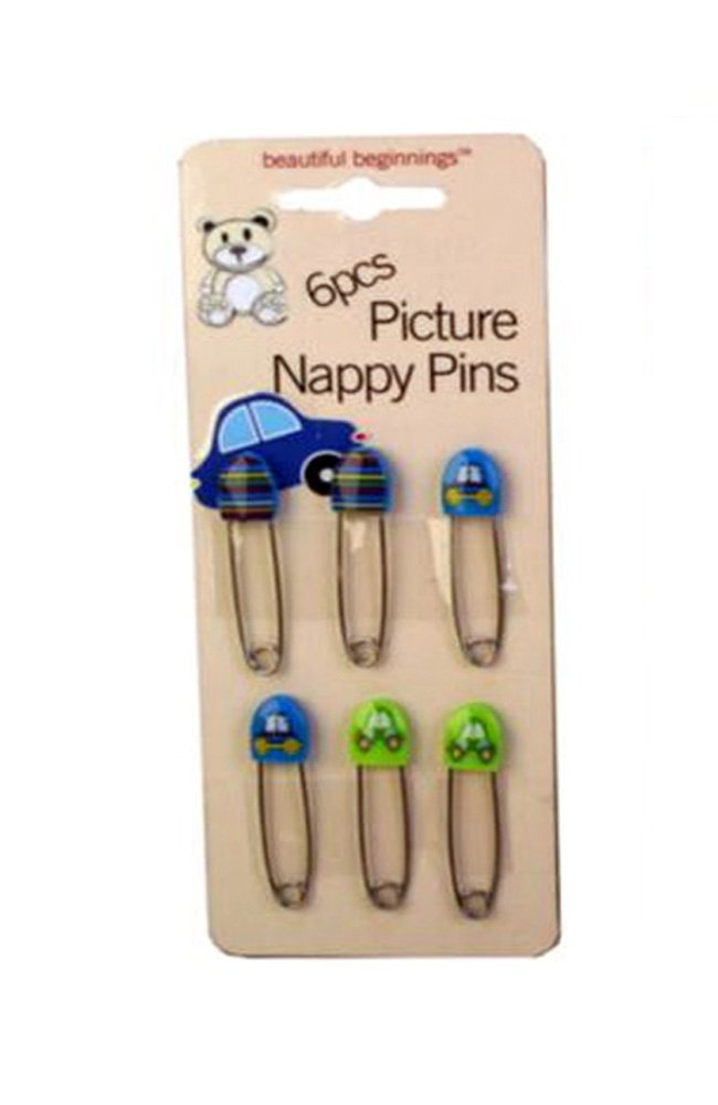 Beautiful Beginnings 6pc Decorated Baby Nappy Diaper Cloth Pins Safety Clip pad70184blue