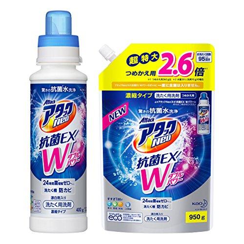 【まとめ買い】アタックNeo 抗菌EX Wパワー 洗濯洗剤 濃縮液体 本体+詰め替え950g