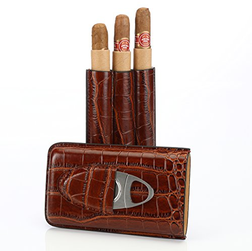 Brown Leather Cigar Case Holder for 3 Cigars with Cutter Set - Perfect Size for Shirt Pockets Golf Cart or Travel