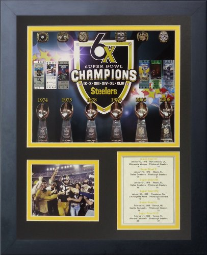 Legends Never Die Pittsburgh Steelers Super Bowl Championships Framed Photo Collage, ()