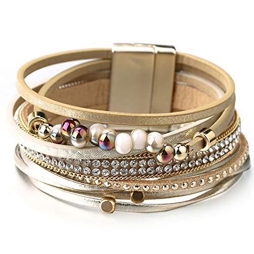 Leather Bracelet Female Pulseira Feminina Magnet Clap Boho Crystal Beads Wide Bracelets for Women Jewelry Khaki
