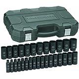 GearWrench 84935 1/2-Inch Drive Impact Socket Set Deep Metric, 29-Piece