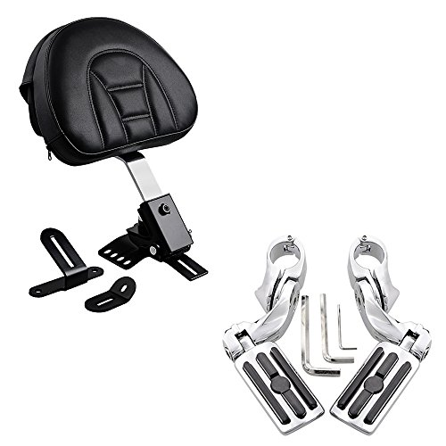 Adjustable Plug-In Driver Rider Backrest with Pocket + 1-1/4 Highway Foot Pegs 3-Slot Style For 1997-2017 Harley Touring FLH FLT Slotted Seat 1.25'' Engine Guard by Astra Depot