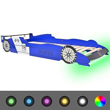 vidaXL Kinderbett mit LED Rennwagen-Design 90x200 cm Blau Autobett ...